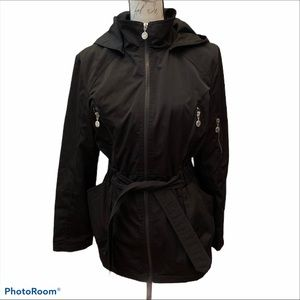 Betsey Johnson Solid Black Hooded Zip Up Jacket